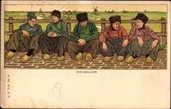 Künstler Ak Niederlande, Oud Holland, Niederländer in Trachten, Männer