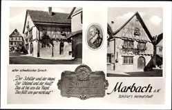 Postcard Marbach am Neckar, Schillers Geburtshaus, alt schwäbischer Spruch