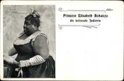 Ak Prinzess Elisabeth Bohatcio, die kolossale Indierin, Dicke Frau