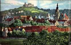 Künstler Ak Bahndorf, Heribert, Coburg in Oberfranken, Stadt mit Veste