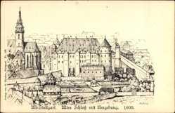 Künstler Ak Bach, M., Stuttgart in Baden Württemberg, Altes Schloss mit Umgebung