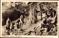 Postcard Wieliczka Groß Salze Polen, Bergleute bei der Arbeit unter Tage, Bohrer