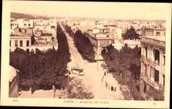 Postcard Tunis Tunesien, Avenue de Paris, Straßenbahn, Blick auf den Ort