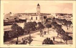 Postcard Tunis Tunesien, Place Bab Souika, Blick auf einen Platz, Passanten