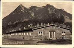 Ak Sonthofen im Kreis Oberallgäu Schwaben, Karpathenkaserne, Baracke mit Grünten