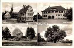 Postcard Leinfelden Echterdingen a.d. Fildern, Rathaus, Zeppelin Gedenkstein, Schule