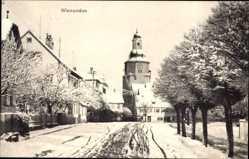 Postcard Winnenden Rems Murr Kreis,Straßenpartie mit Kirche im Winter