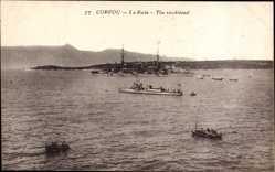 Postcard Korfu Griechenland, La Rade, The roodstead, Kriegsschiffe in der Bucht
