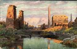Künstler Ak Wuttke, Karnak Ägypten, Ruines et le sacre lac, Ruinen, See