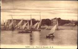 Ak Cairo Kairo Ägypten, Kasrel Nil Barracks, Fischerboote, Baracken, Kaserne