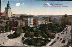 Postcard Lwów Lemberg Ukraine, Blick auf die Hetmannschen Anlagen, Tram, Kirche