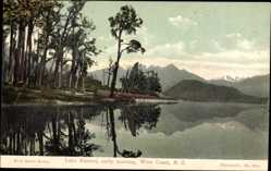 Postcard West Coast Neuseeland, Lake Kanieri, early morning, Berge, See, Wald