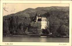 Foto Ak Bled Veldes Slowenien, Schloss, Waldhang, Fahne, See