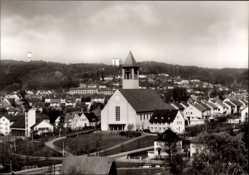 Postcard Sindelfingen Kreis Böblingen, Panoramablick auf den Ort mit Kirche