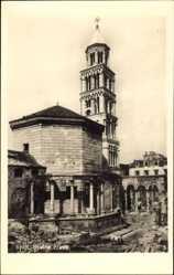Postcard Split Kroatien, Stolna crkva, Blick auf eine Kirche, Ruinen, Turm
