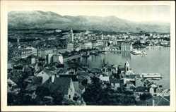 Postcard Split Kroatien, Panoramaansicht der Ortschaft, Berge, Kirchturm