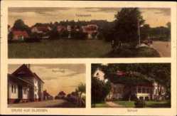 Ak Głogusz Glogsen Sulechów Züllichau Ostbrandenburg, Bahnhof, Schloss