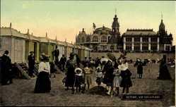 Ak Ostende Westflandern Belgien, Vue sur la Plage, Umkleidekabinen, Kinder