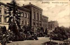 Ak Bydgoszcz Bromberg Westpreußen, Weltzienplatz mit Gymnasium
