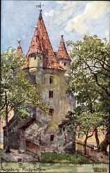 Künstler Ak Wagner, Richard, Augsburg in Schwaben, Blick auf den Füngradturm