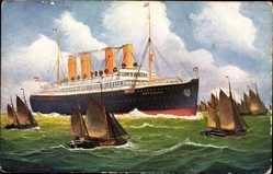 Künstler Ak Dampfschiff Deutschland, HAPAG, Segelboote