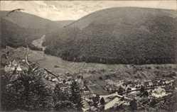 Postcard Höfen bei Wildbad, Gesamtansicht vom Berg aus gesehen, Talblick