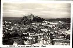 Postcard Leiria Portugal, Vista parcial, Igreja de S. Agostinho e o Castelo