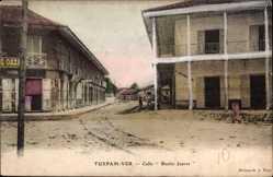 Postcard Tuxpam Ver Mexiko, Calle Benito Juarez, Straßenpartie, Häuser