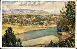 Künstler Ak Piešťany Pistyan Pistian Slowakei, Flusspartie, Ort