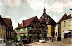Postcard Burgkunstadt am Obermain Oberfranken, Rathaus mit Fachwerkhäusern