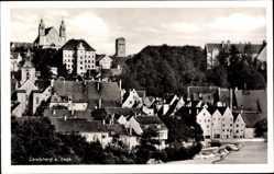 Postcard Landsberg Lech, Stadtansicht, Häuser, Straßenpartie, Bäume