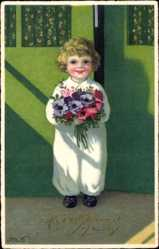 Künstler Ak Baumgarten, Fritz, Glückwunsch Geburtstag, Kind mit Blumen