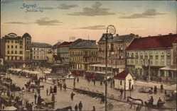 Postcard Zagreb Kroatien, Jelacicev trg, Marktplatz, Reiterdenkmal