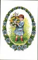 Künstler Ak Voigt, Elisabeth, Kind mit Blumen, Kitsch