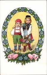 Künstler Ak Voigt, Elisabeth, Zwei Kinder in Trachten, Blumen, Kitsch