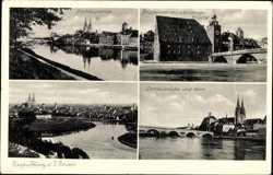 Donaupartie, Brückentor mit steinerner Brücke, Dom