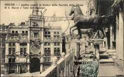 I quattro cavalli in bronzo sulla facciata della Chiesa